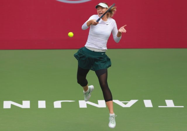 Maria Sharapova of Russia  easily defeated Swiss qualifier Stefanie Voegele 6-3, 6-1 in 64 minutes and the former world number one will face China's Peng Shuai in the last four