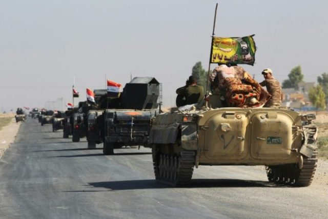 Iraqi forces drive towards the disputed city of Kirkuk on October 16, 2017