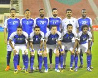 Al-Hilal's starting eleven pose for a group shot ahead of the Asian Champions League semi-final football match between Persepolis and Al-Hilal at the Sultan Qaboos Sports Complex in Muscat on October 17, 2017