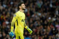 Tottenham Hotspur's goalkeeper Hugo Lloris reacts during their UEFA Champions League group H match against Real Madrid CF  at the Santiago Bernabeu stadium in Madrid on October 17, 2017