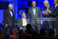 Former presidents take stage at hurricane benefit concert