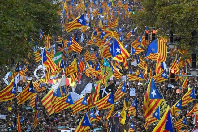Nearly half a million took to the streets of the regional capital Barcelona in support of separatist leaders Jordi Sanchez and Jordi Cuixart, who have been detained pending an investigation into sedition charges