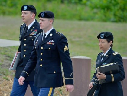 US Army Sgt Bowe Bergdahl (center), who was freed in 2014 after being held captive for five years by Afghan insurgents, arrives at the Ft. Bragg military court earlier this year. On Monday a hearing begins to decide his sentence on desertion charges