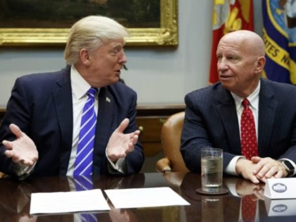 In this Sept. 26, 2017 photo, Rep. Kevin Brady, R-Texas, right, listens as President Donald Trump speaks during a meeting with members of the House Ways and Means committee in the Roosevelt Room of the White House in Washington. Brady says he's discussing the 401(k) issue with President Donald Trump, …