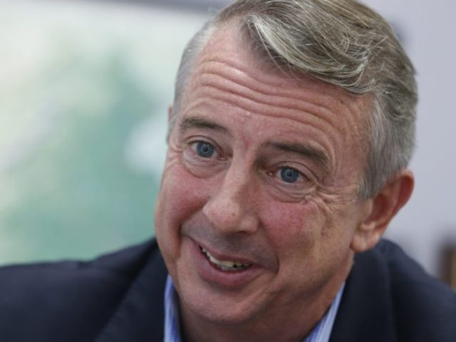 FILE - In this Sept. 26, 2017, file photo, Republican gubernatorial candidate Ed Gillespie, during an interview in Richmond, Va. Virginia's gubernatorial election stands as a test for the anti-Donald Trump resistance, and whether it can energize voters and donors for the less glamorous races featuring traditional Democratic politicians. The Nov. 7 contest pits Democratic Lt. Gov. Ralph Northam, a physician, Army veteran and former state senator, against Gillespie, onetime aide to President George W. Bush and former head of the Republican Party.(AP Photo/Steve Helber, File)