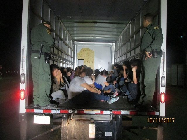 26 illegal aliens found in box truck at Falfurrias checkpoint. (Photo: U.S. Border Patrol)