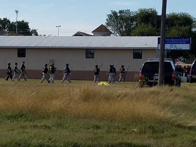 FBI investigators at First Baptist Church in Sutherland Springs, Texas.