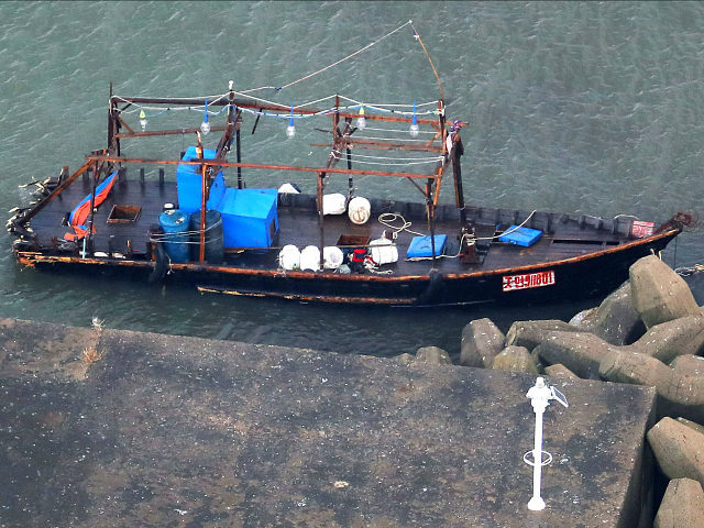 Monday's discovery comes just days after a boat with eight North Korean fishermen also docked on Japan's coast. (Kyodo News via AP)