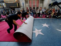 HOLLYWOOD, CA - FEBRUARY 18: Workers Rodolfo Morales (L) and Ernest Jauregui (R) roll out the ceremonial red carpet over the Hollywood Walk of Fame stars on Hollywood Boulevard in preparation of 87th Annual Academy Awards at Dolby Theater February 18, 2015 in Hollywood, California. (Photo by Kevork Djansezian/Getty Images)