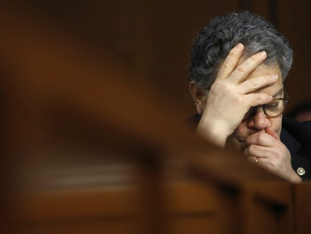 Senate Judiciary Committee member Sen. Al Franken, D-Minn. listens to testimony on Capitol Hill in Washington, Wednesday, July 26, 2017, during the committee's hearing on attempts to influence American elections, with a focus on Russian meddling in the last presidential race. (AP Photo/Jacquelyn Martin)