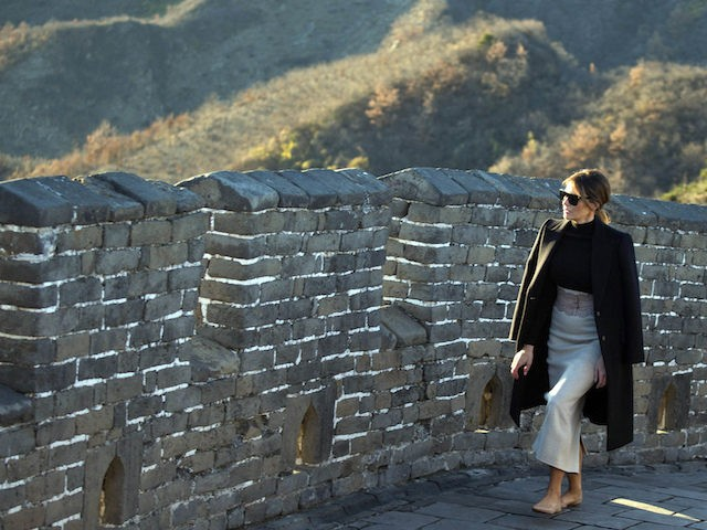 U.S. first lady Melania Trump walks along the Mutianyu Great Wall section n Beijing, China, Friday, Nov. 10, 2017. (AP Photo/Ng Han Guan)
