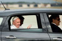 In this Sept. 22, 2015, file photo, Pope Francis waves from a Fiat 500L as his motorcade departs Andrews Air Force Base, Md. ,after being greeted by President Barack Obama and first lady Michelle Obama. One of the two Fiats used by Pope Francis during this visit to Philadelphia last …