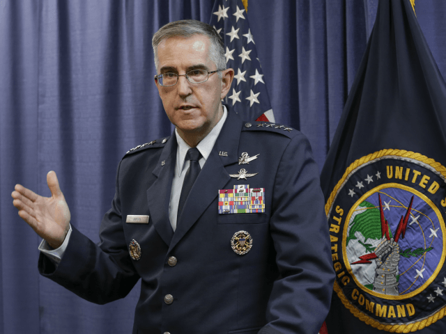 In this Thursday, Nov. 3, 2016 file photo, Air Force Gen. John Hyten, the incoming commander of the United States Strategic Command, speaks to reporters following a change of command ceremony at Offutt Air Force Base in Bellevue, Neb. On Saturday, Nov. 17, 2017, the top officer at U.S. Strategic …