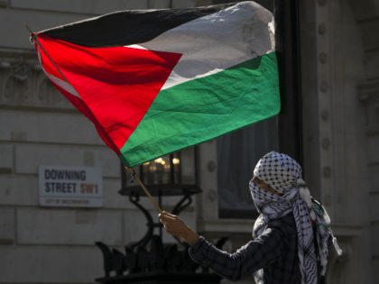 A pro-Palestinian demonstrator waves the Palestinian flag outside the gates of Downing Street in London on September 9, 2015, during a protest to oppose the visit of Israeli Prime Minister Benjamin Netanyahu. Over 100 pro-Israeli demonstrators and hundreds of pro-Palestinian activists rallied in front of Downing Street in London ahead …