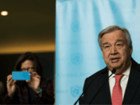 NEW YORK, NY - DECEMBER 12: Newly sworn-in Secretary General of the United Nations Antonio Guterres speaks to reporters at UN Headquarters, December 12, 2016 in New York City. Guterres will replace Ban Ki-moon of South Korea on January. (Photo by Drew Angerer/Getty Images)