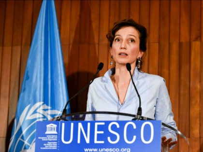 PARIS, Oct. 13, 2017 -- Audrey Azoulay delivers a speech at the headquarters of United Nations Educational, Scientific and Cultural Organization (UNESCO) in Paris, France, on Oct. 13, 2017. French candidate Audrey Azoulay was nominated as candidate for next Director-General of UNESCO on Friday by the executive board. (Xinhua/Chen Yichen …