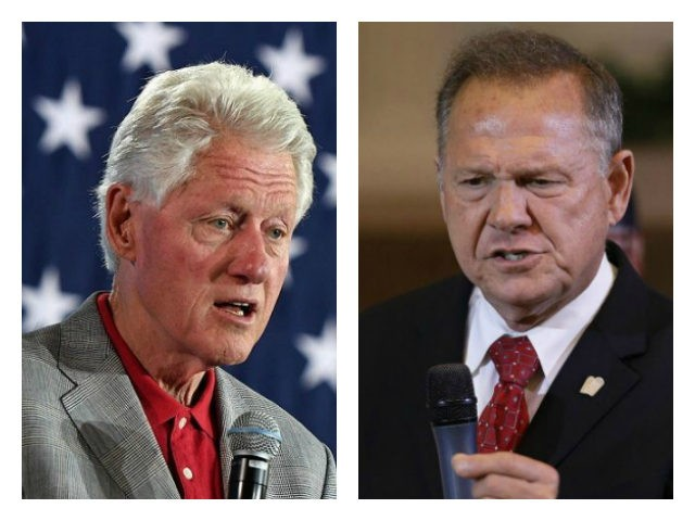 Bill Clinton and Roy Moore collage