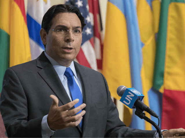 Israel's Ambassador to the United Nations Danny Danon speaks to reporters outside the Security Council chambers, Monday, July 24, 2017 at United Nations headquarters. (AP Photo/Mary Altaffer)