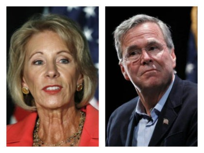 Betsy DeVos and Jeb Bush collage