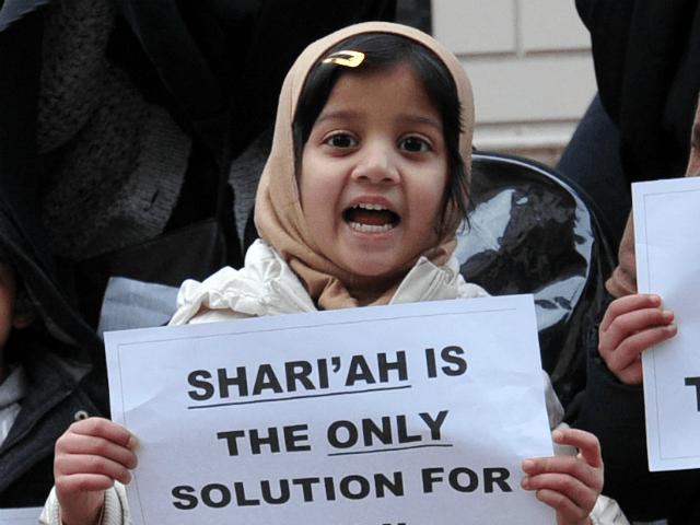 Veiled Muslim women and children hold up signs reading 'Jihad' and calling for Shari'ah law in Mali as they protest in response to French military action in Mali outside the French embassy in central London on January 12, 2013.