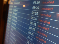 A departure board at the airport in Hamburg, northern Germany displays all flights as cancelled on February 14, 2013 due to a strike of security employees. AFP PHOTO / MALTE CHRISTIANS GERMANY OUT (Photo credit should read MALTE CHRISTIANS/AFP/Getty Images)