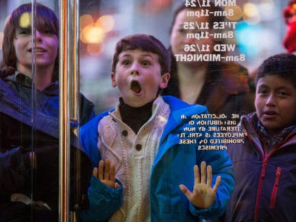 NEW YORK, NY - NOVEMBER 27: A boy waits to enter the Toys R Us in Times Square on November 27, 2014 in New York, United States. Black Friday sales, which now begin on the Thursday of Thanksgiving, continue to draw shoppers out for deals and sales. (Photo by Andrew …