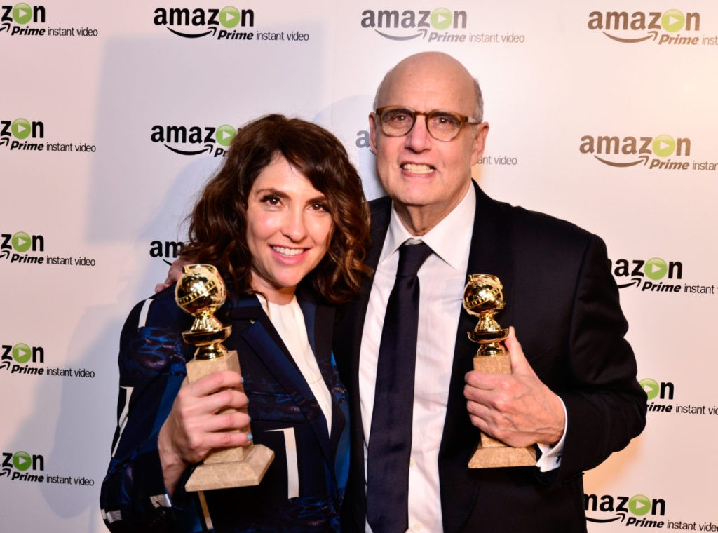 """Show creator/director Jill Soloway (L) and actor Jeffrey Tambor attend the """"Transparent"""" Cast and Crew Golden Globes Viewing Party at The London West Hollywood on January 11, 2015 in West Hollywood, California. (Photo by Jerod Harris/Getty Images for Amazon Studios)"""