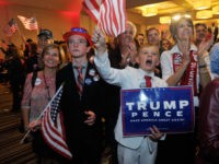 TOPSHOT - Supporters of Republican presidential nominee Donald Trump celebrate after Trump was declared as the winner of the US election while attending the Colorado GOP Election Night Party in Greenwood Village, Colorado on November 8, 2016. Donald Trump has stunned America and the world, riding a wave of populist …