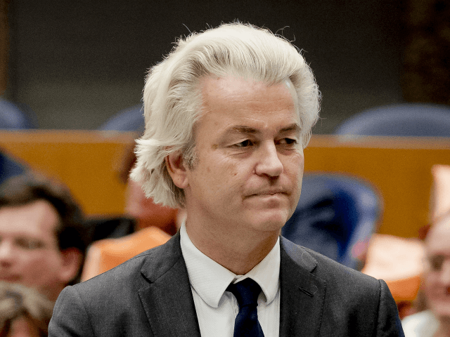 Dutch leader of the far right party, Party for Freedom (PVV), Geert Wilders is pictured during the installation of the new Chamber members after the parliamentary elections, on March 23, 2017 at the Senate in The Hague. / AFP PHOTO / ANP / Remko de Waal / Netherlands OUT (Photo …