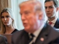 US President Donald Trump speaks alongside his daughter, Ivanka Trump (L) and her husband, Senior White House Adviser Jared Kushner (R) during a Cabinet Meeting in the Cabinet Room of the White House in Washington, DC, October 16, 2017. / AFP PHOTO / SAUL LOEB (Photo credit should read SAUL …