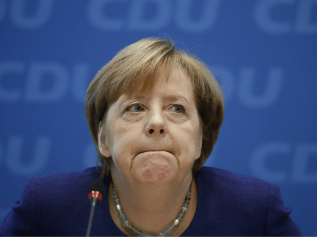 German Chancellor Angela Merkel attends a meeting of the federal executive board of the Christian Democratic Union (CDU) in Berlin, on October 23, 2017 on the eve of further exploratory talks between potential coalition partners. / AFP PHOTO / Odd ANDERSEN (Photo credit should read ODD ANDERSEN/AFP/Getty Images)