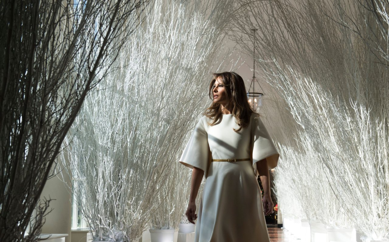 us first lady melania trump walks through christmas decorations in the east wing as she tours holiday decorations at the white house in washington dc
