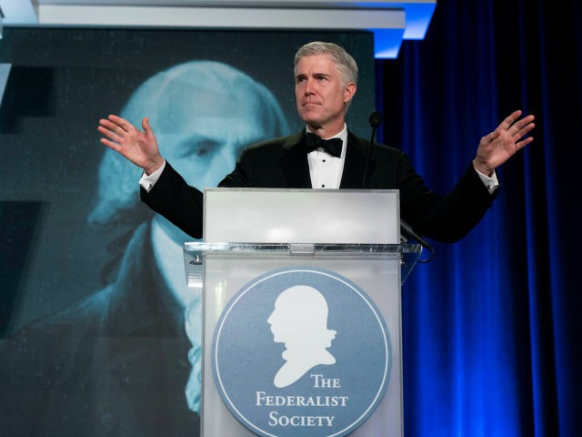 Supreme Court Associate Justice Neil Gorsuch speaks at the Federalist Society's 2017 National Lawyers Convention in Washington, Thursday, Nov. 16, 2017. (AP Photo/Sait Serkan Gurbuz)