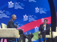 Alon Ben David from Channel 10 in Israel and Israel's Ambassador to the United States Ron Dermer speak at the Israel American Council's national congress, November 6, 2017