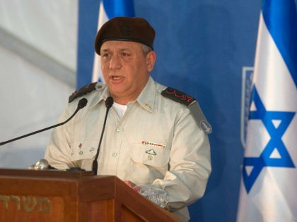 Israel's new Chief of Staff Gadi Eisenkot delivers a speech during his swearing-in ceremony at the Prime Minister's Jerusalem offices on February 16, 2015. AFP PHOTO / MENAHEM KAHANA (Photo credit should read MENAHEM KAHANA/AFP/Getty Images)