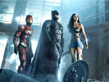 Ben Affleck, Gal Gadot, and Ezra Miller in Justice League (Warner Bros., 2017)