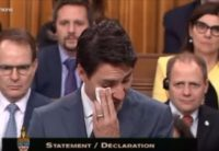 Justin Trudeau crying during LGBTQ2 apology