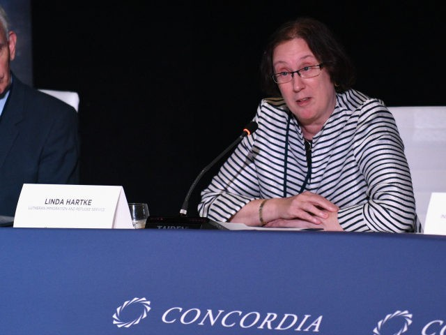Linda Hartke, Lutheran Immigration and Refugee Service, speaks at The 2017 Concordia Annual Summit at Grand Hyatt New York on September 18, 2017 in New York City. (Photo by Bryan Bedder/Getty Images for Concordia Summit)