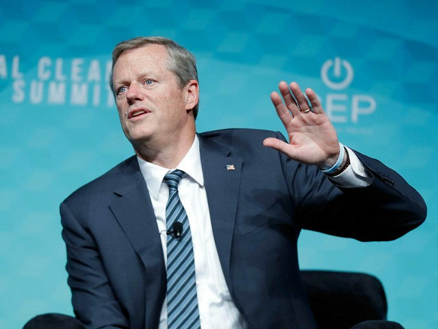 LAS VEGAS, NV - OCTOBER 13: Massachusetts Governor Charlie Baker speaks during the National Clean Energy Summit 9.0 on October 13, 2017 in Las Vegas, Nevada. (Photo by Isaac Brekken/Getty Images for National Clean Energy Summit)