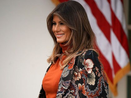 WASHINGTON, DC - NOVEMBER 21: U.S. first lady Melania Trump attends the pardoning ceremony for the National Thanksgiving Turkey in the Rose Garden at the White House November 21, 2017 in Washington, DC. Following the presidential pardon, 'Drumstick,' the 40-pound White Holland breed raised by National Turkey Federation Chairman Carl …