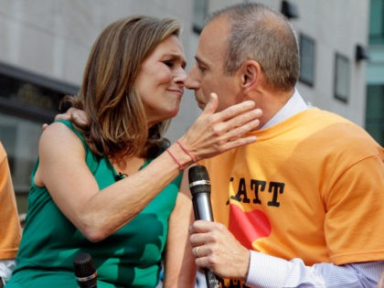 "Matt Lauer, of the NBC ""Today"" television show, joins his co-host Meredith Vieira during a segment of the show, in New York Thursday Feb. 1, 2007. NBC's ""Today"" show will add a fourth hour in September, stretching television's most popular and lucrative morning show nearly into lunchtime. (AP Photo/Richard Drew)"