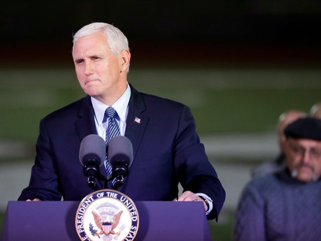 Vice President Mike Pence speaks during a prayer vigil for the victims of the Sutherland Springs First Baptist Church shooting Wednesday, Nov. 8, 2017, in Floresville, Texas. A man opened fire inside the church in the small South Texas community on Sunday, killing more than two dozen and injuring others. …