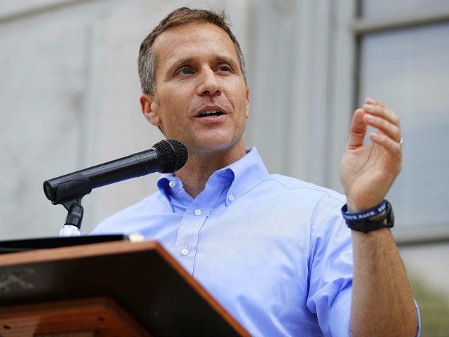 FILE - In this May 23, 2017, file photo, Missouri Gov. Eric Greitens speaks to supporters during a rally outside the state Capitol in Jefferson City, Mo. Greitens announced Wednesday, June 7 he's calling another special session starting Monday to address a St. Louis ordinance against discrimination based on abortions and pregnancies. Greitens has criticized the ordinance. (AP Photo/Jeff Roberson, File)