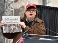 WASHINGTON, DC - JANUARY 21: Michael Moore speaks onstage during the Women's March on Washington on January 21, 2017 in Washington, DC. (Photo by Theo Wargo/Getty Images)