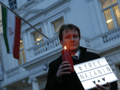 Richard Ratcliffe husband of imprisoned charity worker Nazanin Zaghari-Ratcliffe, poses for the media during an Amnesty International led vigil outside the Iranian Embassy in London, Monday, Jan. 16, 2017. Zaghari-Ratcliffe was jailed in Iran for five years in Sept. 2016 for allegedly plotting to topple the government in Tehran. (AP …