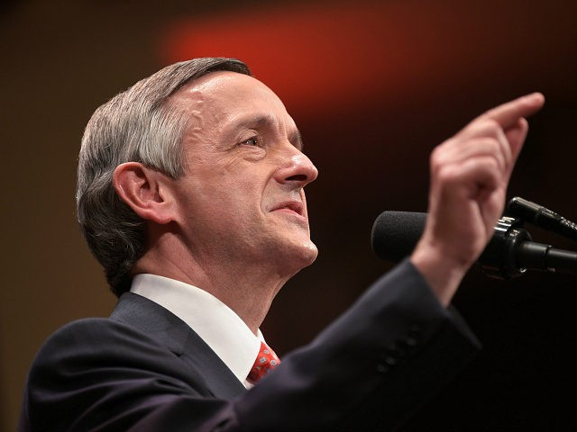 Pastor Robert Jeffress, pastor of the First Baptist Church in Dallas, introduces US President Donald Trump at the Celebrate Freedom concert at the John F. Kennedy Center for the Performing Arts in Washington, DC on July 1, 2017. / AFP PHOTO / MANDEL NGAN (Photo credit should read MANDEL NGAN/AFP/Getty …