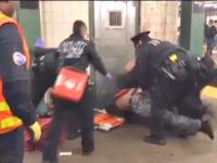 Police Tackle Subway Drunk