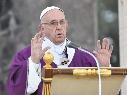 Pope Francis leads a mass on November 2, 2017 at the U.S. World War II cemetery on the day Christians around the world commemorate their dead, in Nettuno, near Rome, on November 2, 2017. Pope Francis will celebrate a mass at the American cemetery today before a visit at the …
