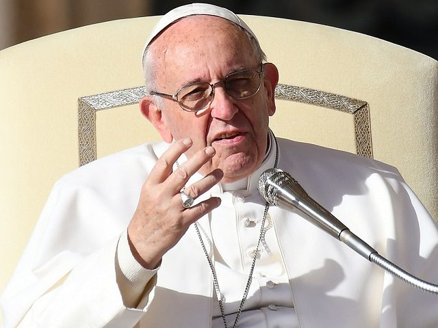 Pope Francis addresses the crowd during a weekly general audience at St Peter's square on November 22, 2017 in Vatican. / AFP PHOTO / Vincenzo PINTO (Photo credit should read VINCENZO PINTO/AFP/Getty Images)