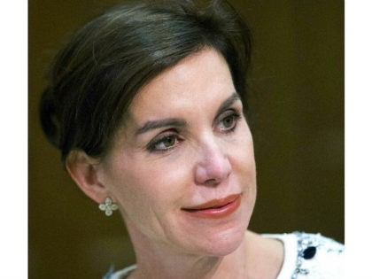 In this Thursday, Oct. 5, 2017 photo Republican candidate for Lt. Gov. Virginia State Sen. Jill Vogel participates in a debate with Democrat Justin Fairfax at the University of Richmond in Richmond, Va. Vogel is doing everything she can to differentiate herself from the rest of the Republican Party. Her …